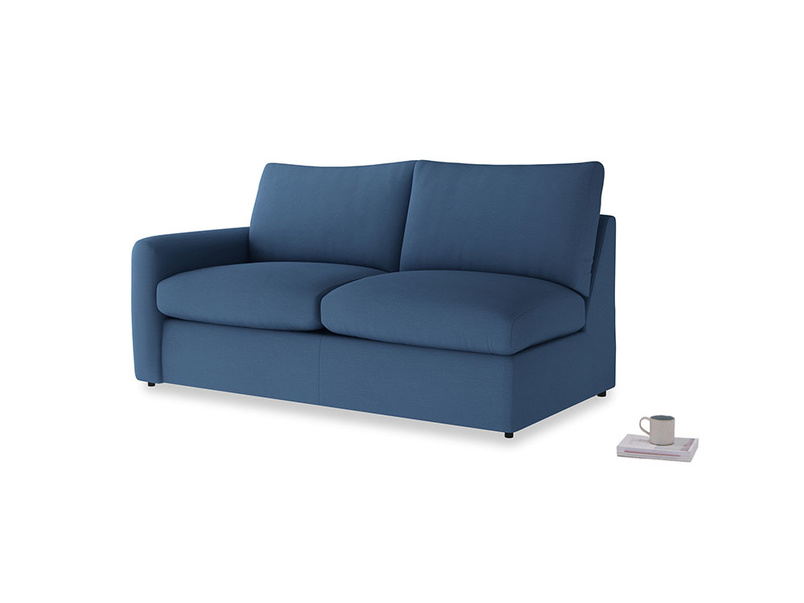 Chatnap Sofa Bed in True blue Clever Linen with a left arm