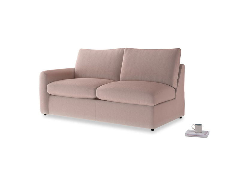 Chatnap Sofa Bed in Rose quartz Clever Deep Velvet with a left arm