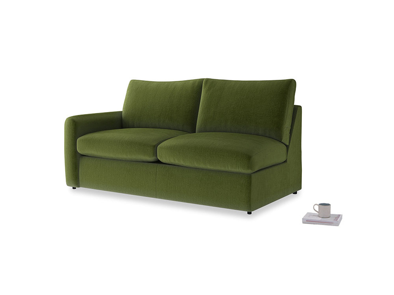 Chatnap Sofa Bed in Good green Clever Deep Velvet with a left arm