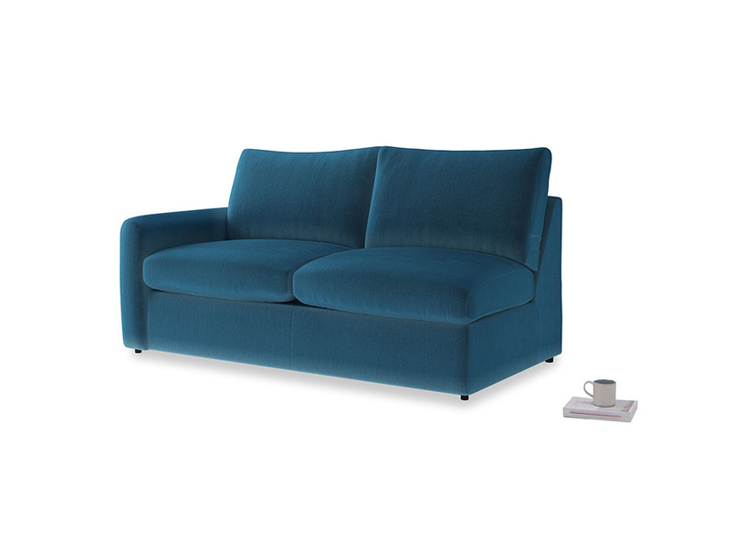 Chatnap Sofa Bed in Twilight blue Clever Deep Velvet with a left arm