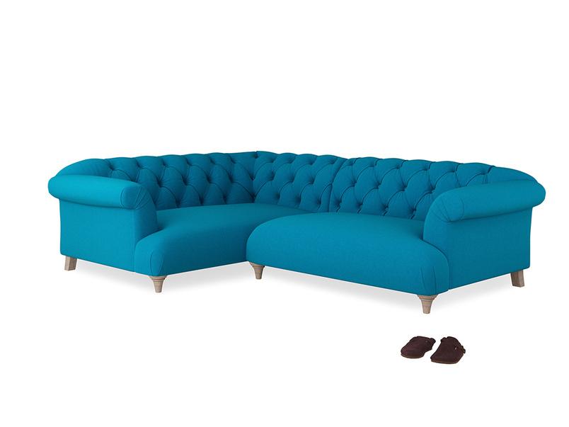 Large Left Hand Dixie Corner Sofa in Bermuda Brushed Cotton