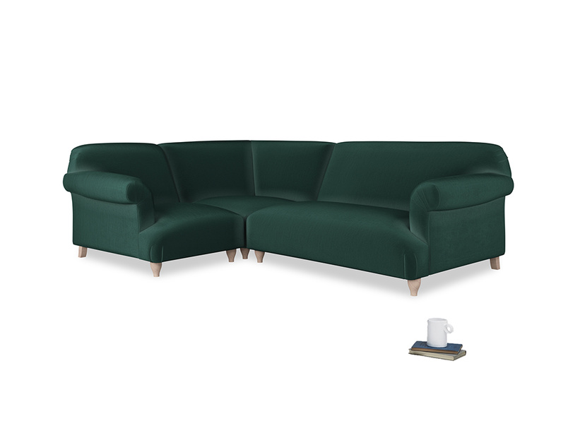 Large left hand Soufflé Modular Corner Sofa in Dark green Clever Velvet with both arms
