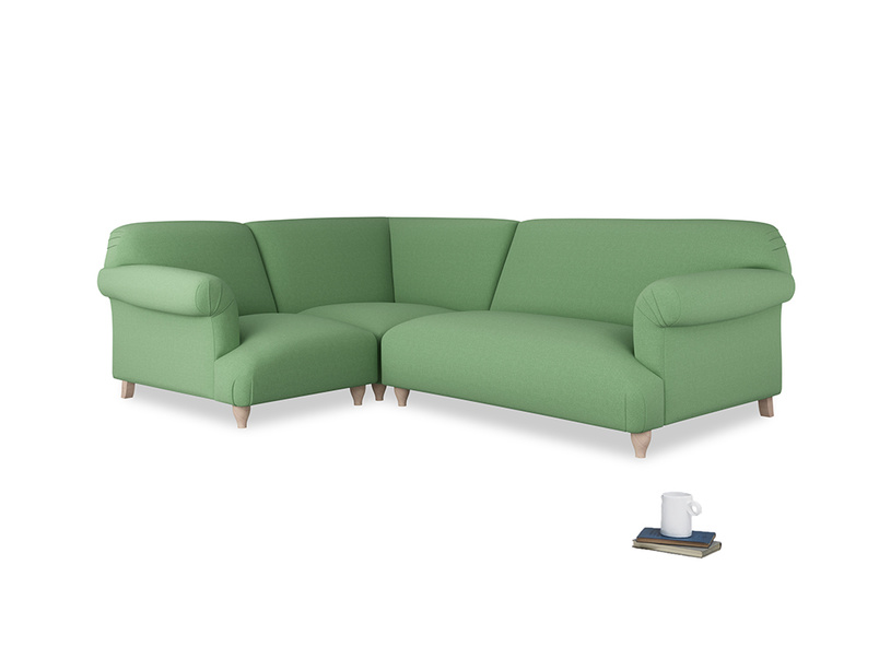 Large left hand Soufflé Modular Corner Sofa in Clean green Brushed Cotton with both arms