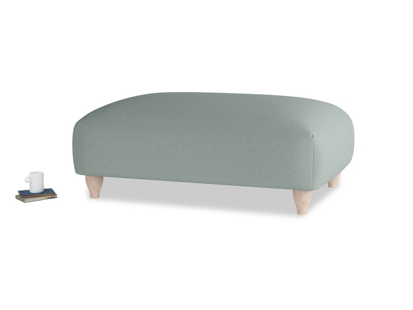 Soufflé Footstool in Sea fog Clever Woolly Fabric