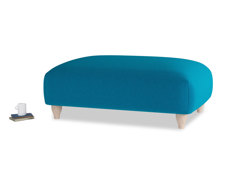 Soufflé Footstool in Bermuda Brushed Cotton