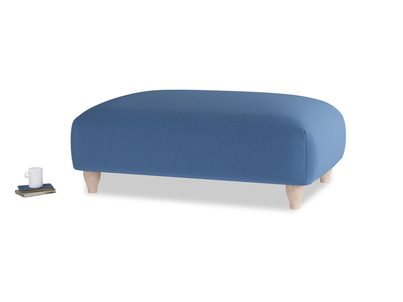 Soufflé Footstool in English blue Brushed Cotton