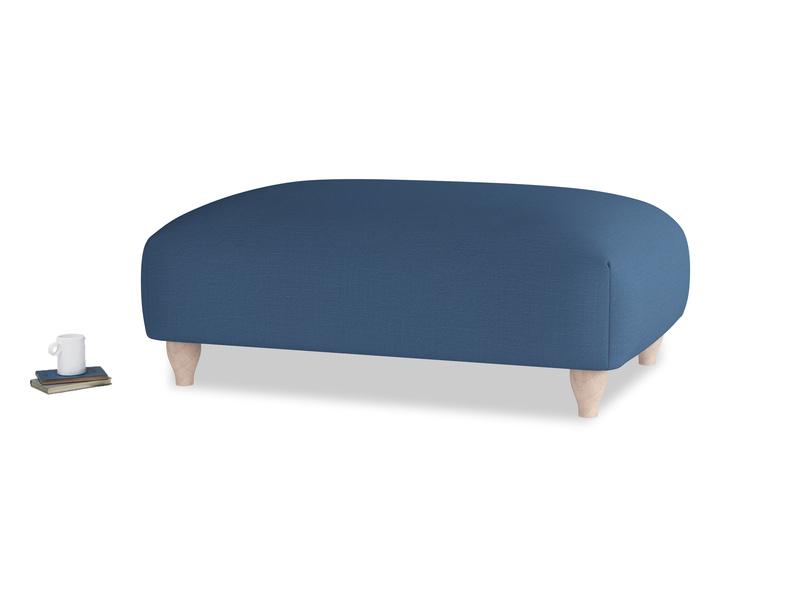 Soufflé Footstool in True blue Clever Linen