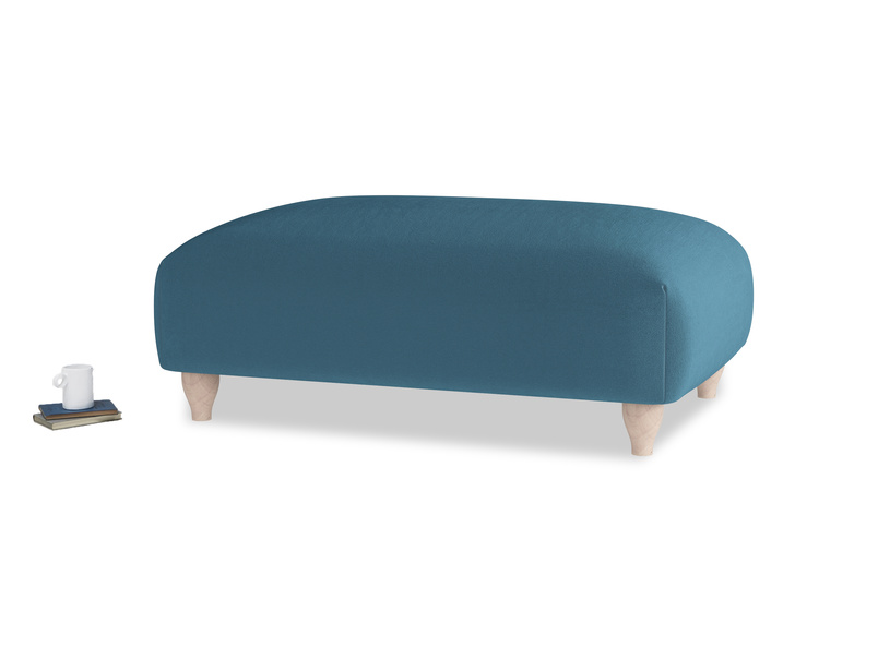 Soufflé Footstool in Old blue Clever Deep Velvet