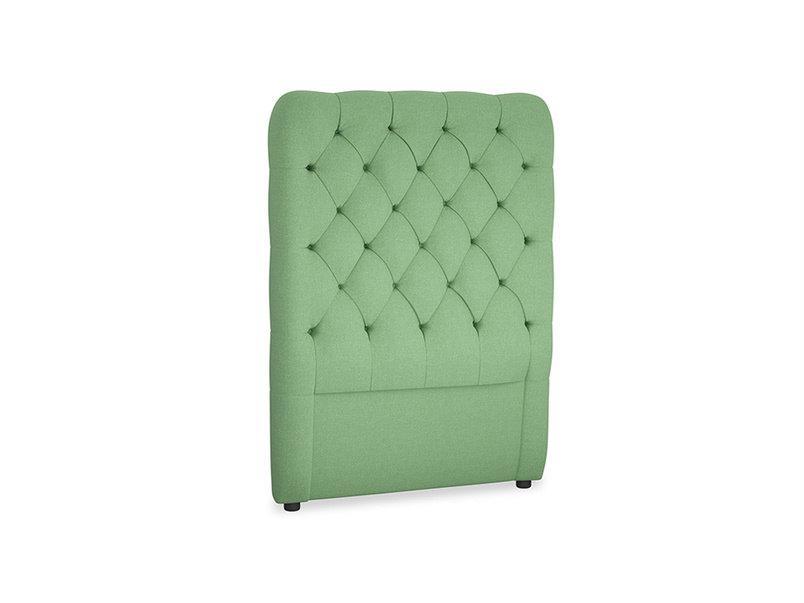 Single Tall Billow Headboard in Clean green Brushed Cotton