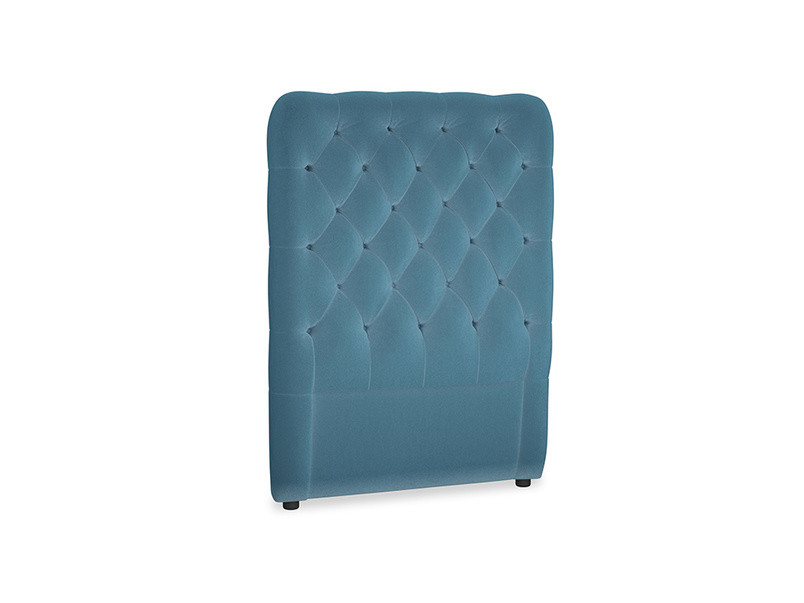 Single Tall Billow Headboard in Old blue Clever Deep Velvet