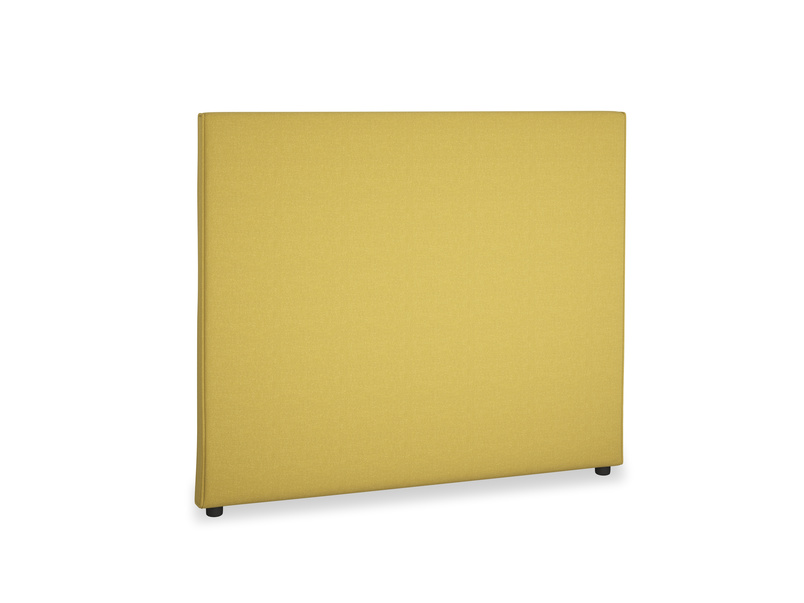 Double Piper Headboard in Maize yellow Brushed Cotton