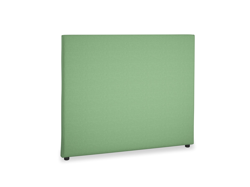 Double Piper Headboard in Clean green Brushed Cotton