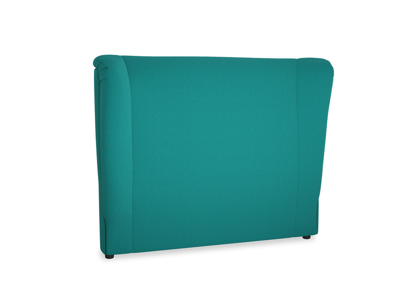Double Hugger Headboard in Indian green Brushed Cotton