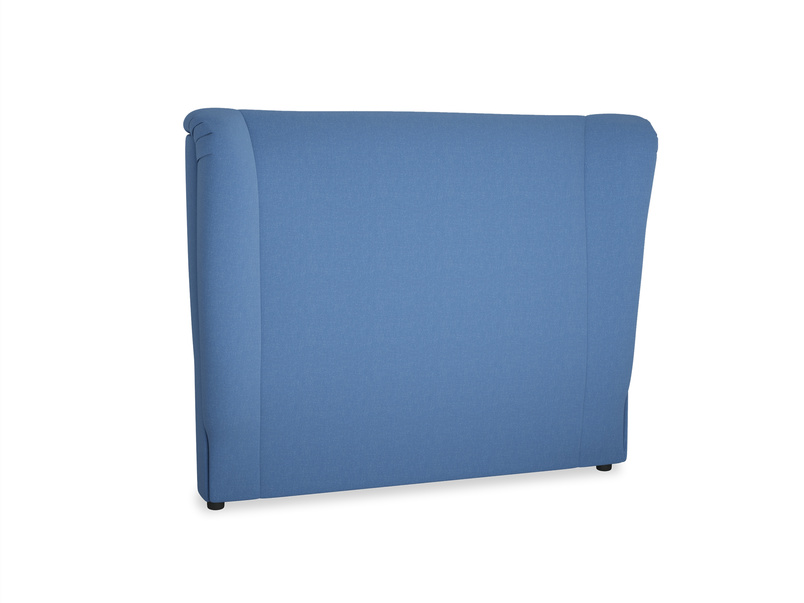 Double Hugger Headboard in English blue Brushed Cotton