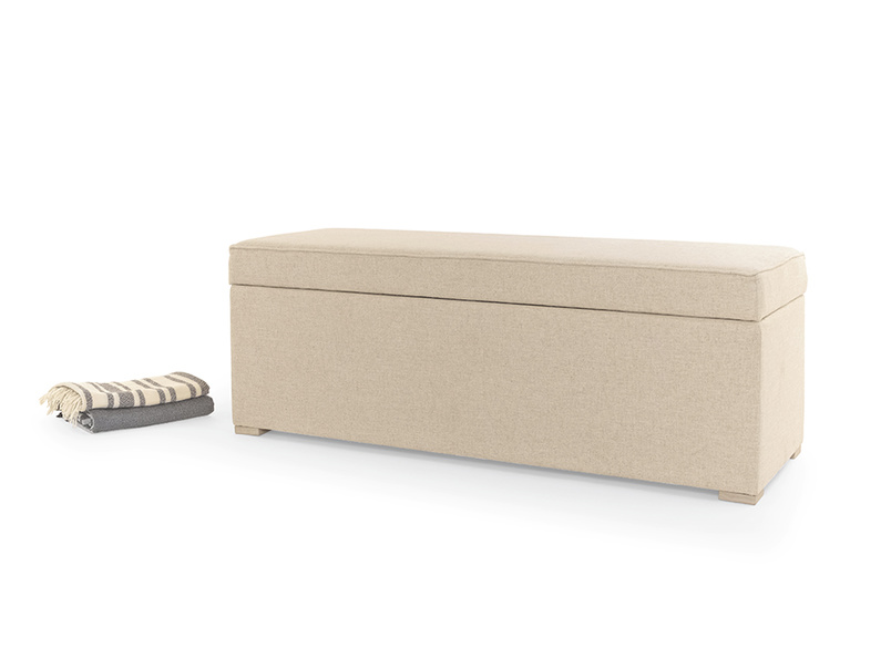 Upholstered Eton Mess ottoman storage chest and bench