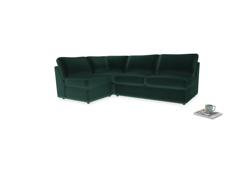 Large left hand Chatnap modular corner storage sofa in Dark green Clever Velvet