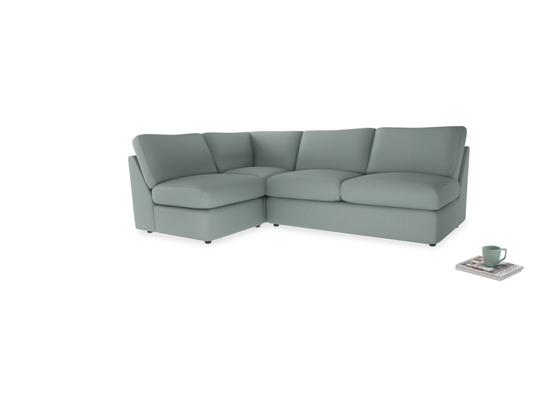 Large left hand Chatnap modular corner storage sofa in Sea fog Clever Woolly Fabric