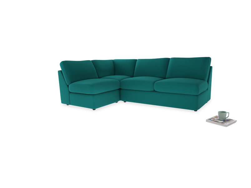 Large left hand Chatnap modular corner storage sofa in Indian green Brushed Cotton