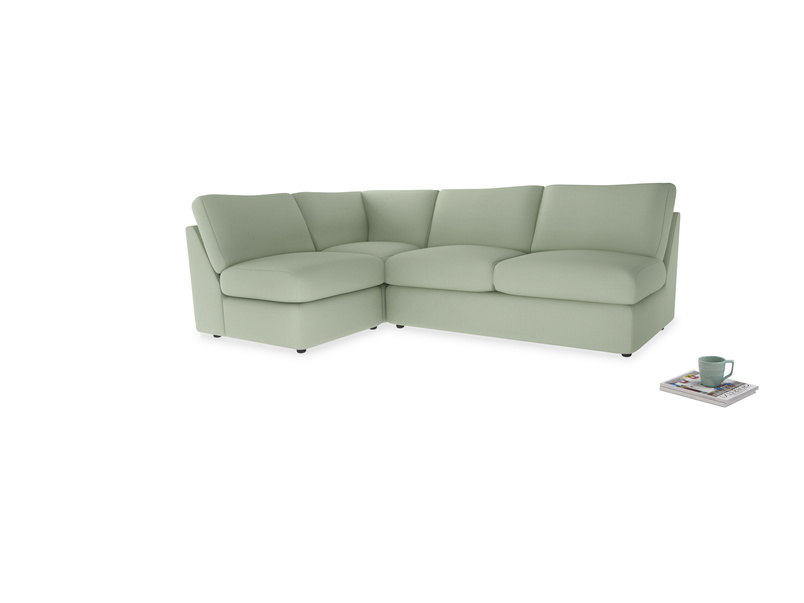 Large left hand Chatnap modular corner storage sofa in Powder green Clever Linen