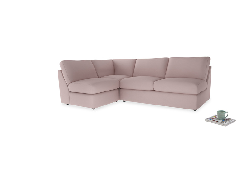 Large left hand Chatnap modular corner storage sofa in Potter's pink Clever Linen