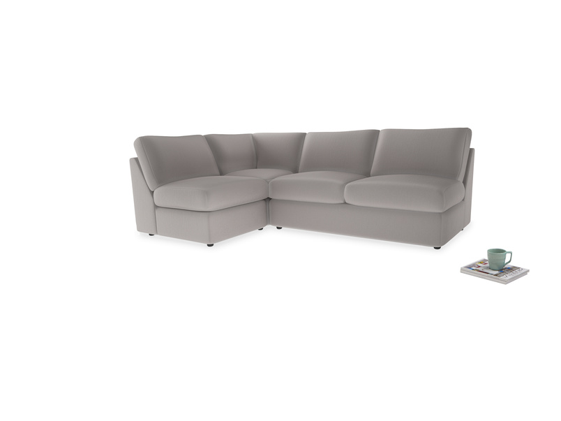 Large left hand Chatnap modular corner storage sofa in Mouse grey Clever Deep Velvet