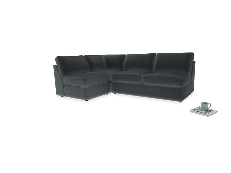 Large left hand Chatnap modular corner storage sofa in Dark grey Clever Deep Velvet
