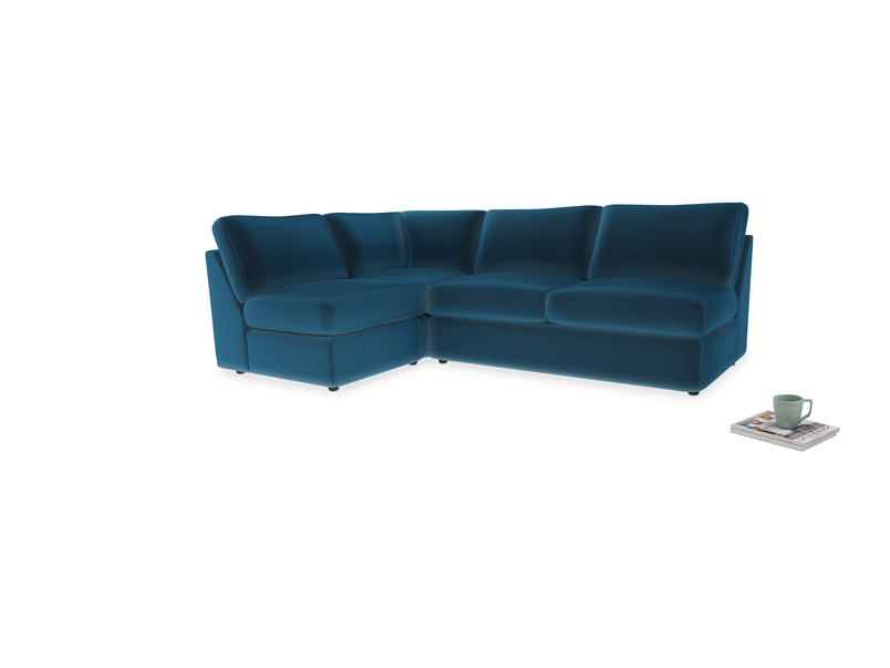 Large left hand Chatnap modular corner storage sofa in Twilight blue Clever Deep Velvet