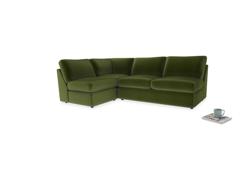 Large left hand Chatnap modular corner storage sofa in Good green Clever Deep Velvet