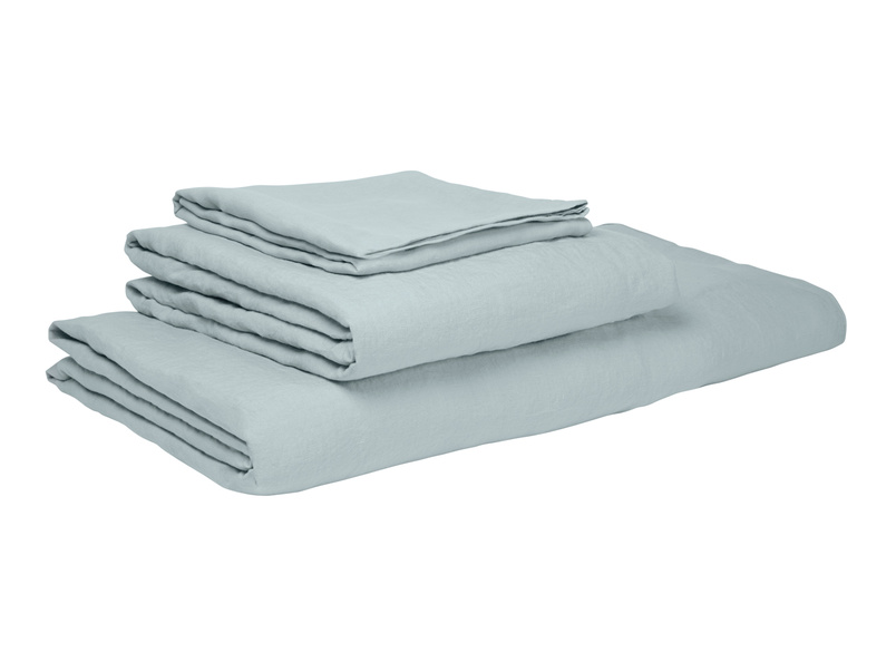 Double Lazy Linen fitted sheets in Duck Egg