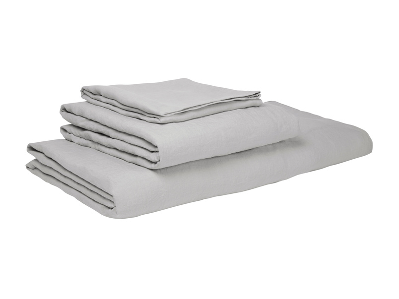 Double Lazy Linen fitted sheets in Light Grey