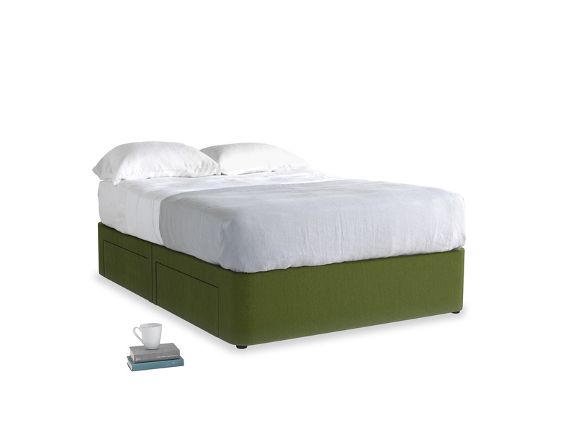 Double Tight Space Storage Bed in Good green Clever Deep Velvet