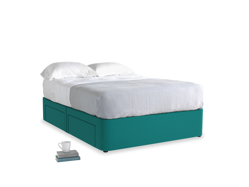 Double Tight Space Storage Bed in Indian green Brushed Cotton