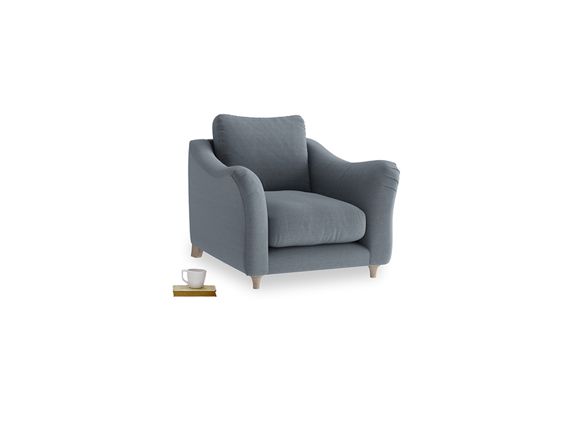 Bumpster Armchair in Blue Storm washed cotton linen