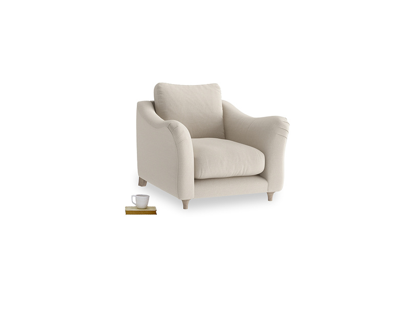 Bumpster Armchair in Buff brushed cotton