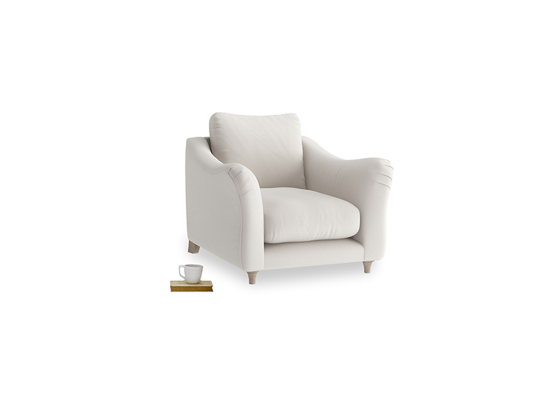 Bumpster Armchair in Chalk clever cotton