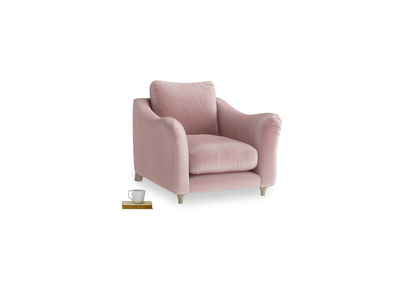 Bumpster Armchair in Chalky Pink vintage velvet