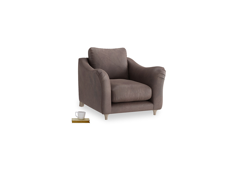 Bumpster Armchair in Dark Chocolate beaten leather