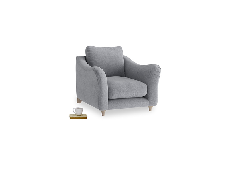 Bumpster Armchair in Dove grey wool