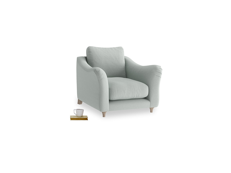 Bumpster Armchair in French blue brushed cotton