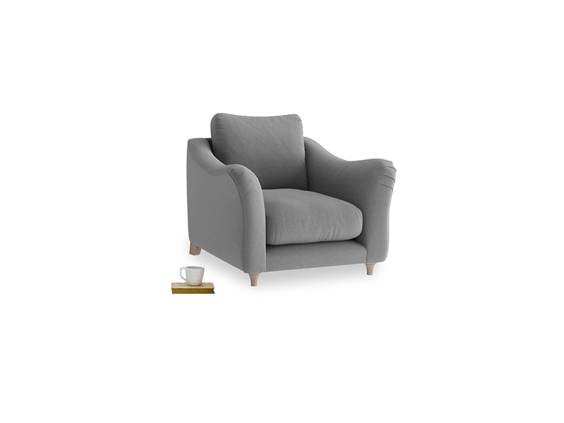 Bumpster Armchair in Gun Metal brushed cotton