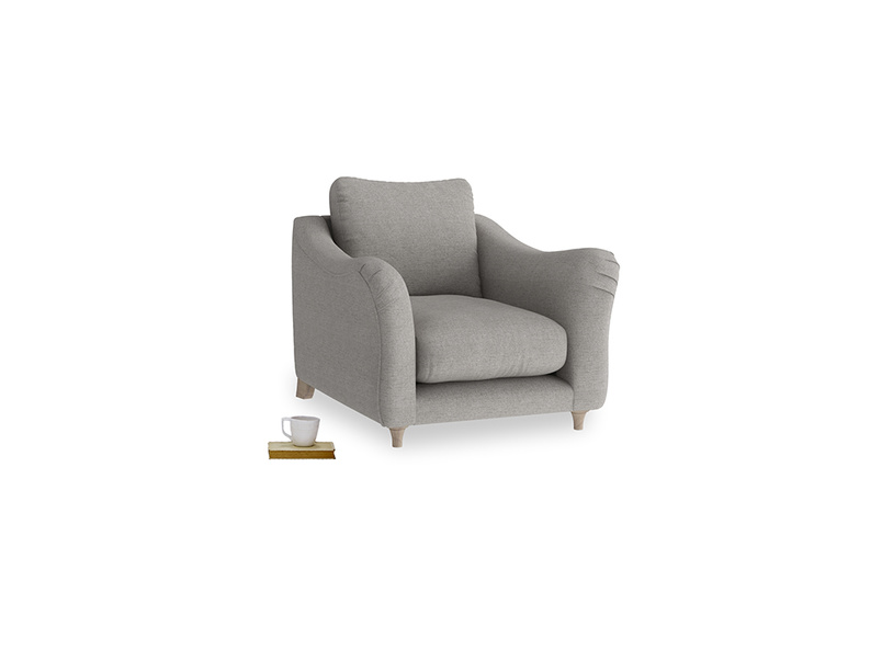 Bumpster Armchair in Marl grey clever woolly fabric