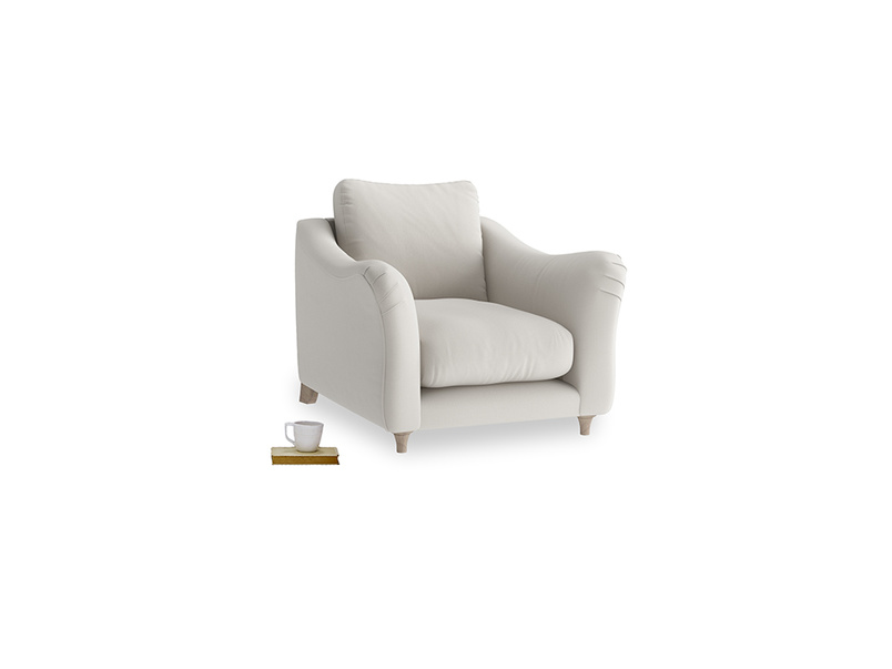 Bumpster Armchair in Moondust grey clever cotton