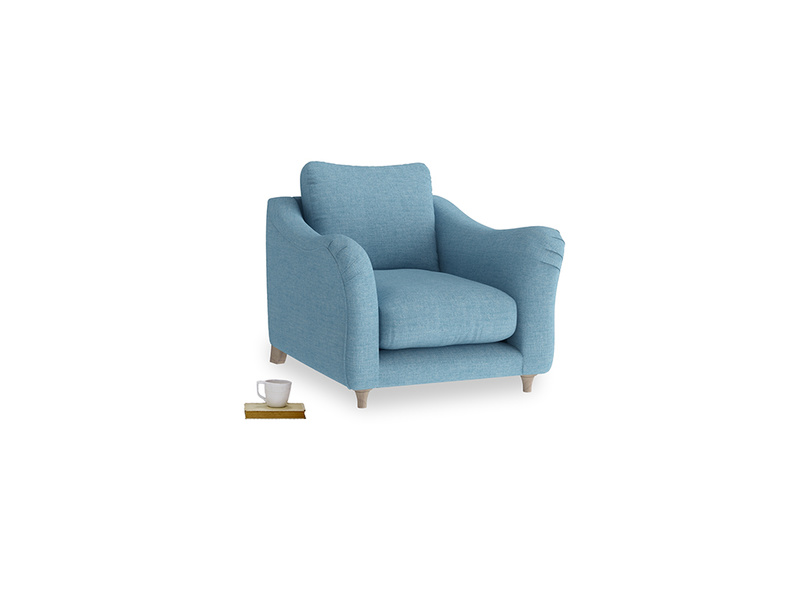 Bumpster Armchair in Moroccan blue clever woolly fabric
