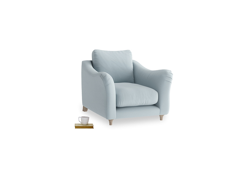 Bumpster Armchair in Scandi blue clever cotton