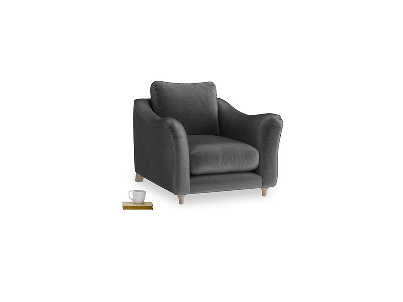 Bumpster Armchair in Scuttle grey vintage velvet