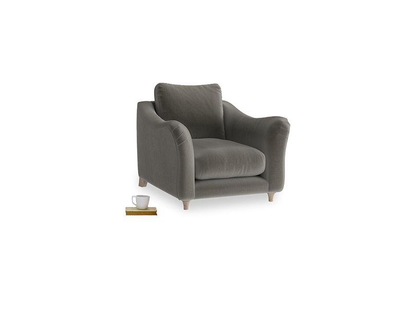 Bumpster Armchair in Slate clever velvet