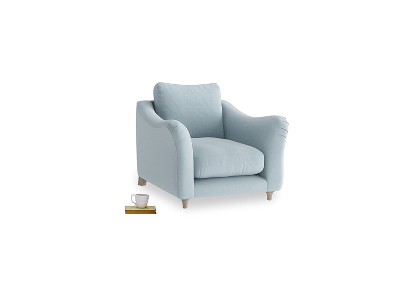 Bumpster Armchair in Soothing blue washed cotton linen