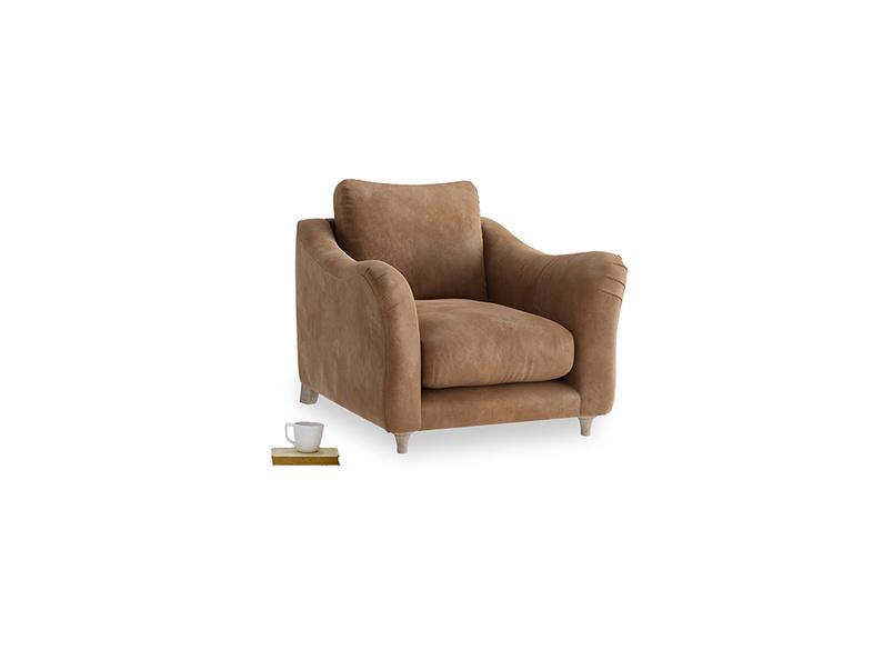 Bumpster Armchair in Walnut beaten leather