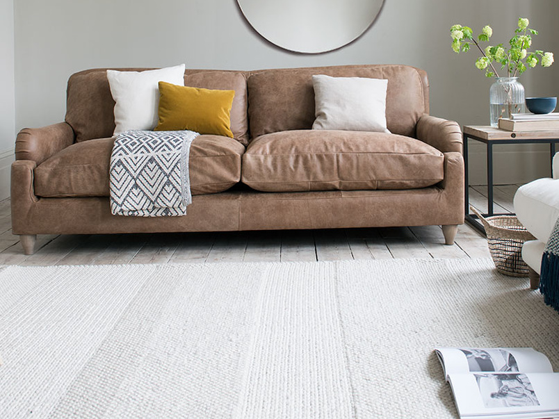Knitwit woven floor rug in natural wool