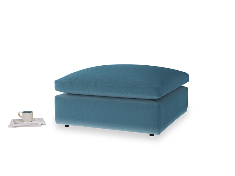 Cuddlemuffin Footstool in Old blue Clever Deep Velvet